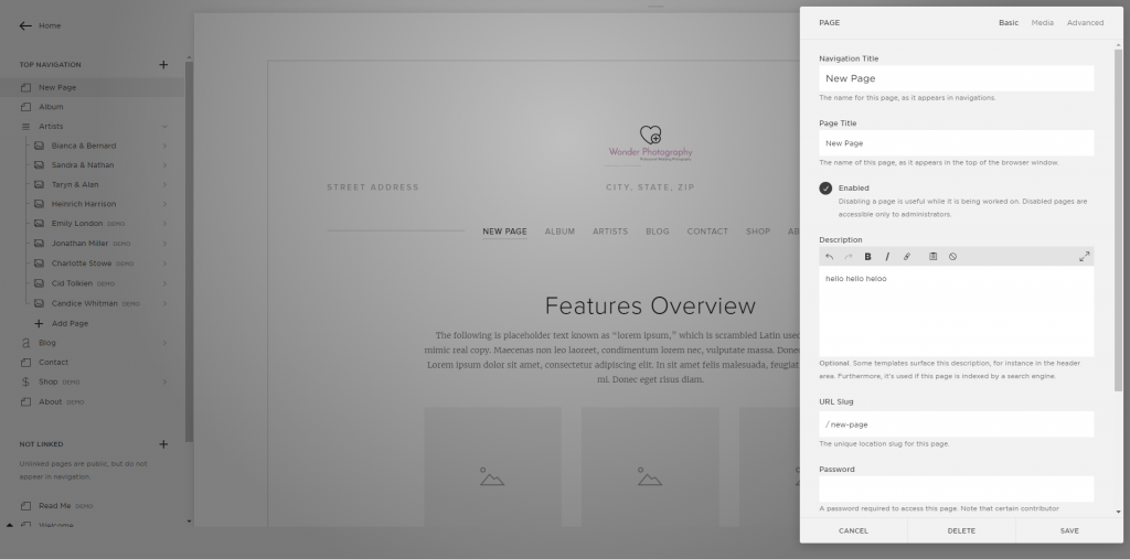 Squarespace page settings