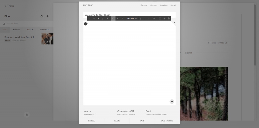 Squarespace editor blog page