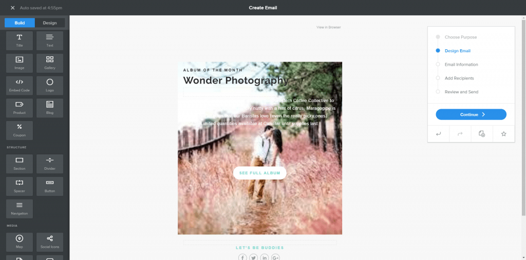 Weebly email marketing - image editor