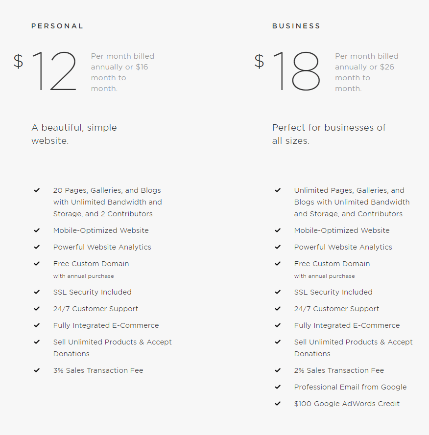 Squarespace pricing for business