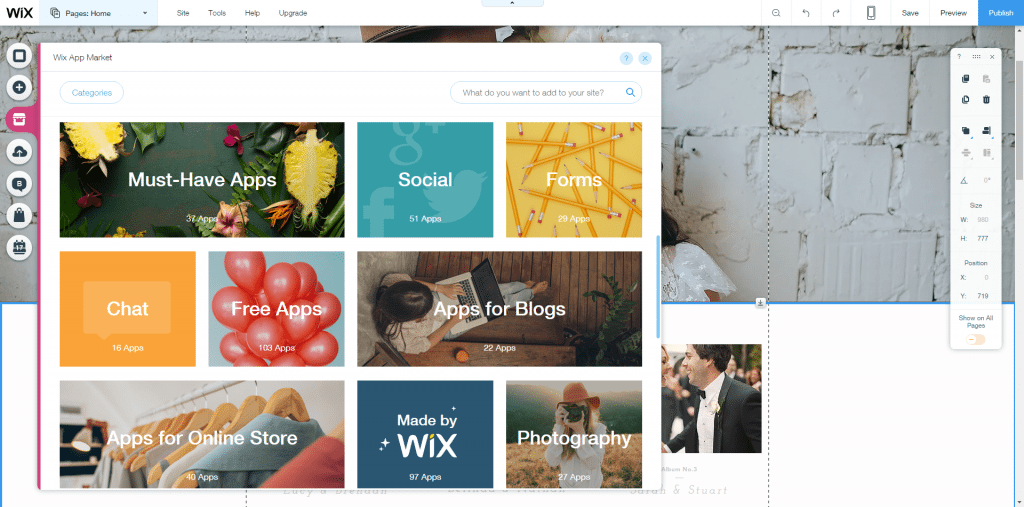 Wix apps categories