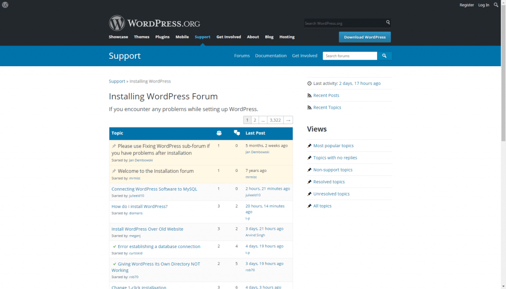 Wordpress Support forum