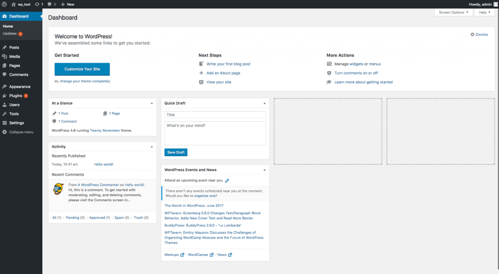 Wordpress - editor dashboard