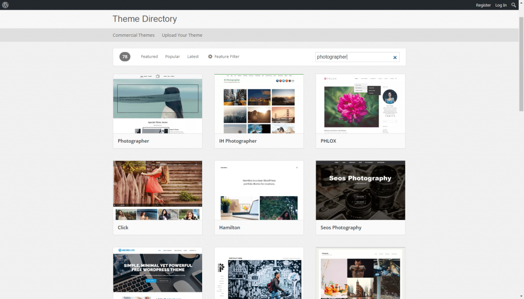 wordpress themes - photography
