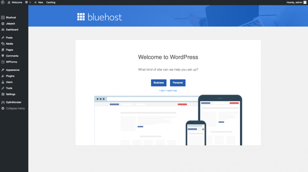 Bluehost WordPress Interface