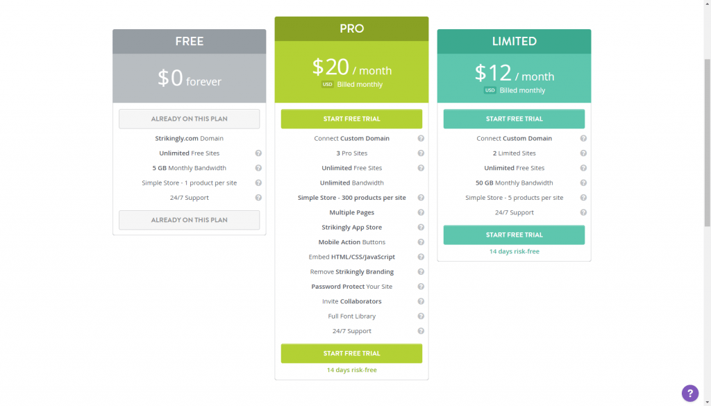 Strikingly's pricing plans