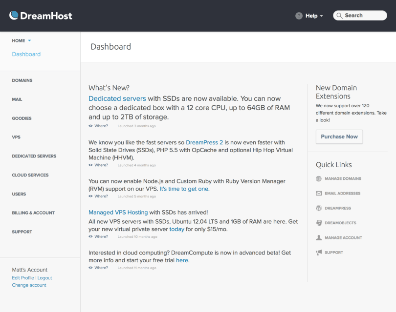 DreamHost dashboard