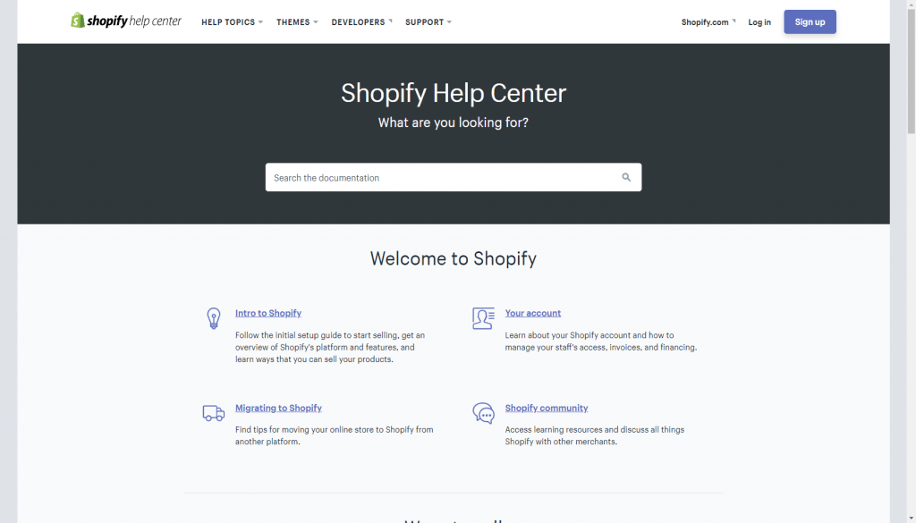 Shopify's help center