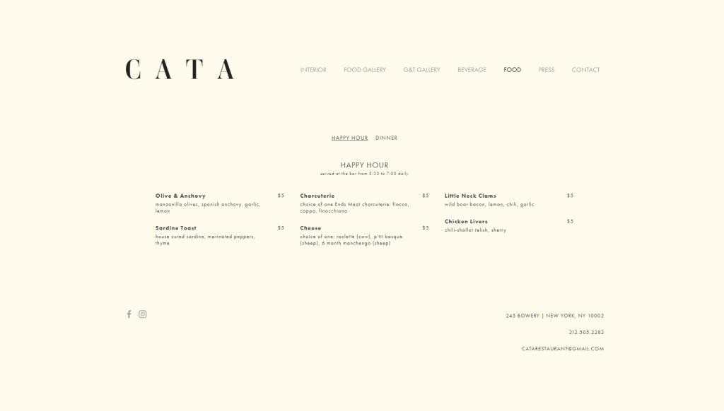 Squarespace menu