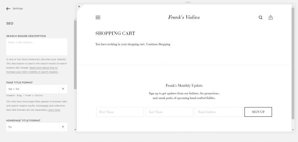 Squarespace SEO for eCommerce Feature