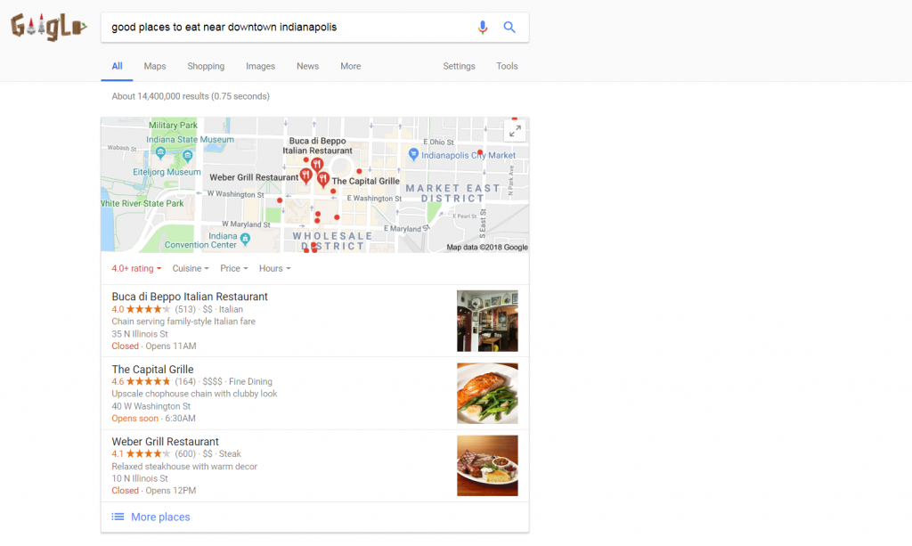 Google Local Search Query Results