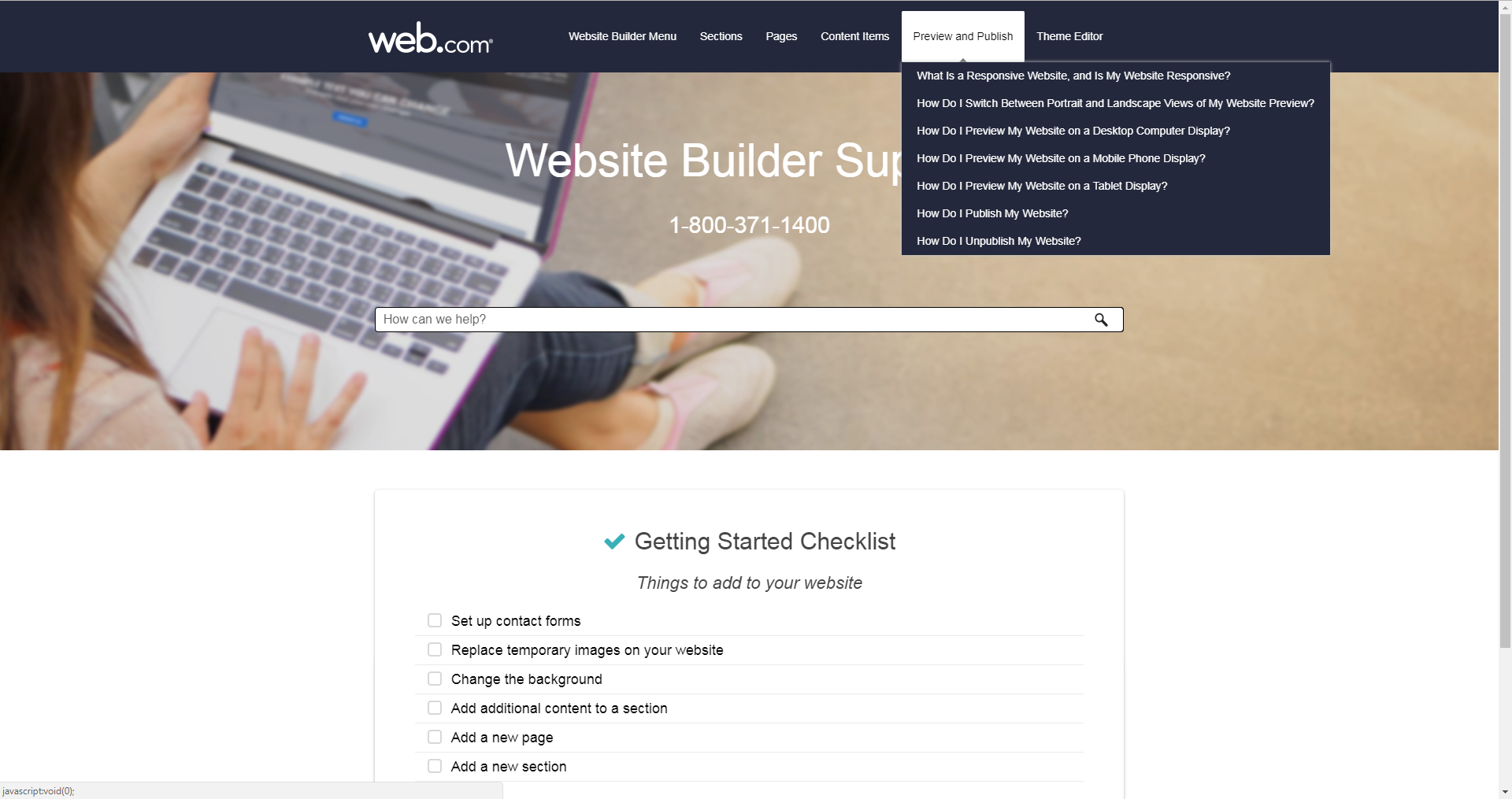 website builder support