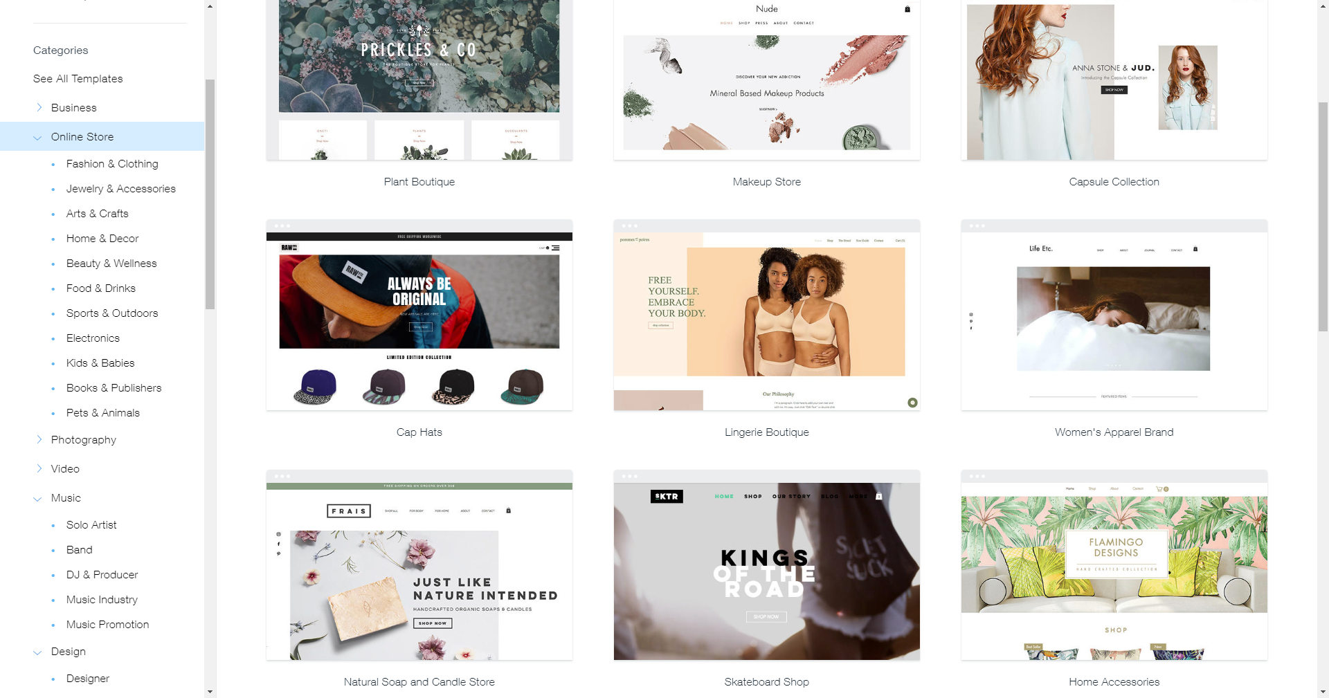 Wix Stores templates