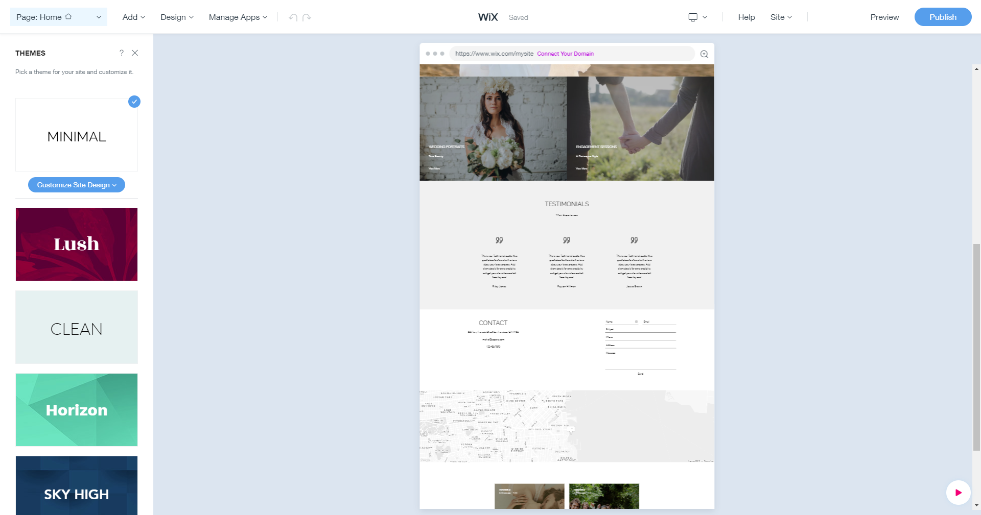 Wix ADI Theme Selection