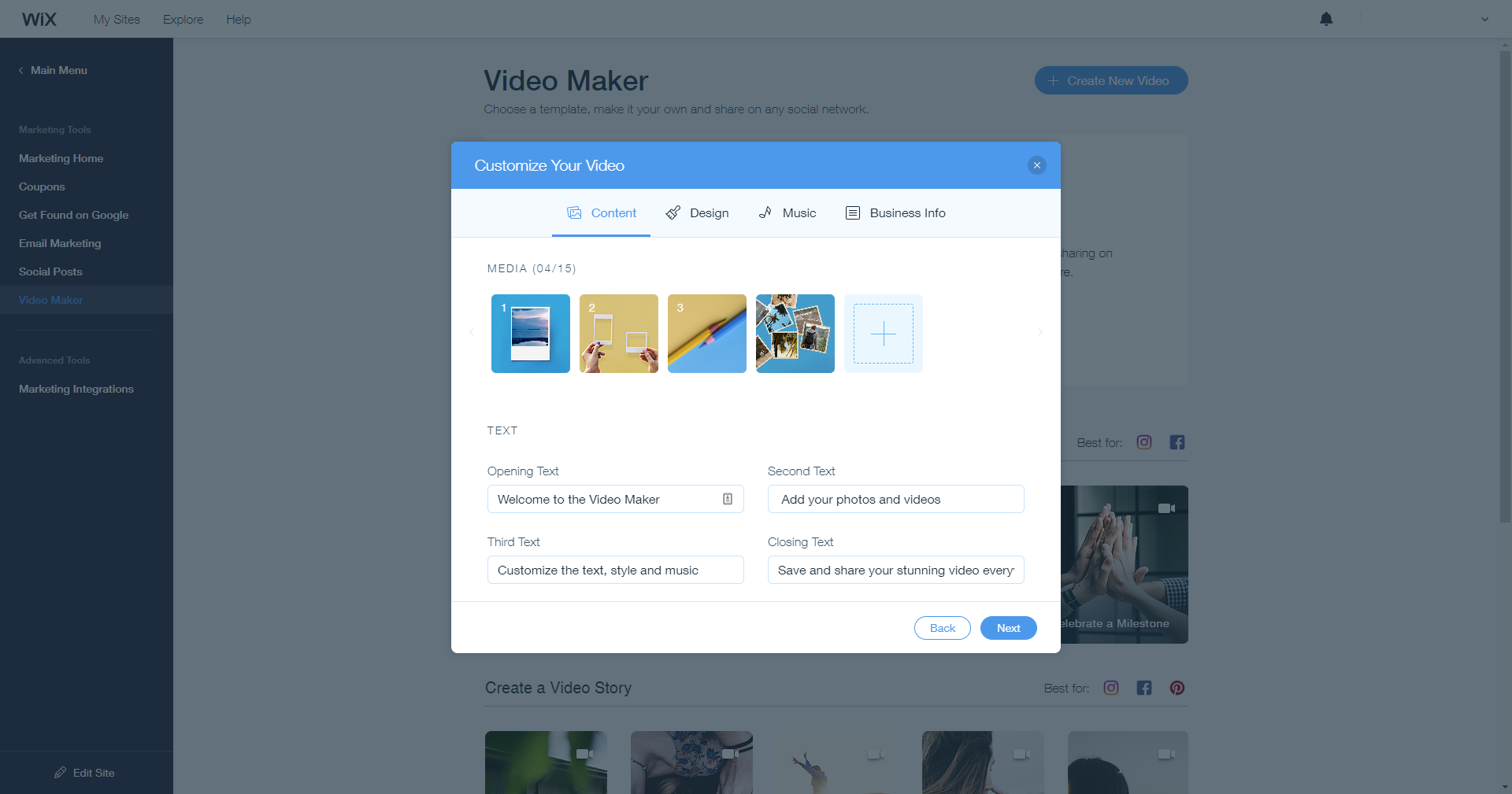 Wix Ascend video maker
