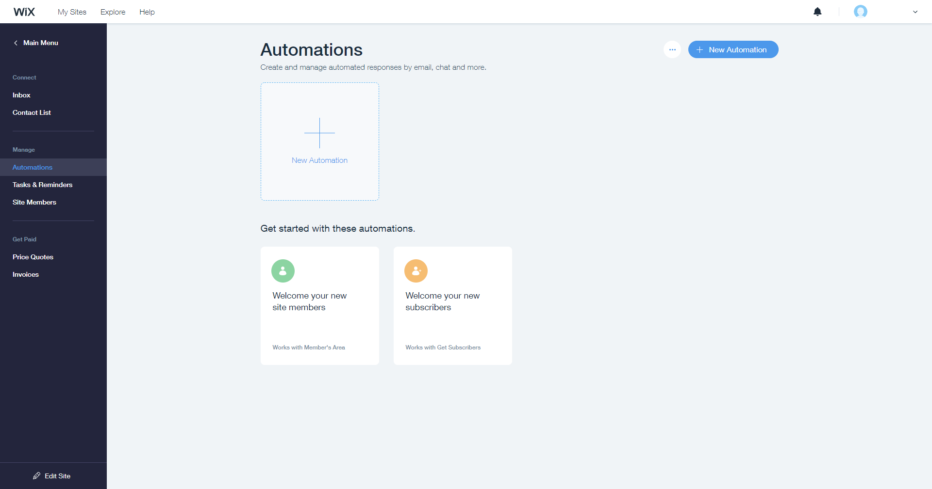 Wix Ascend automations