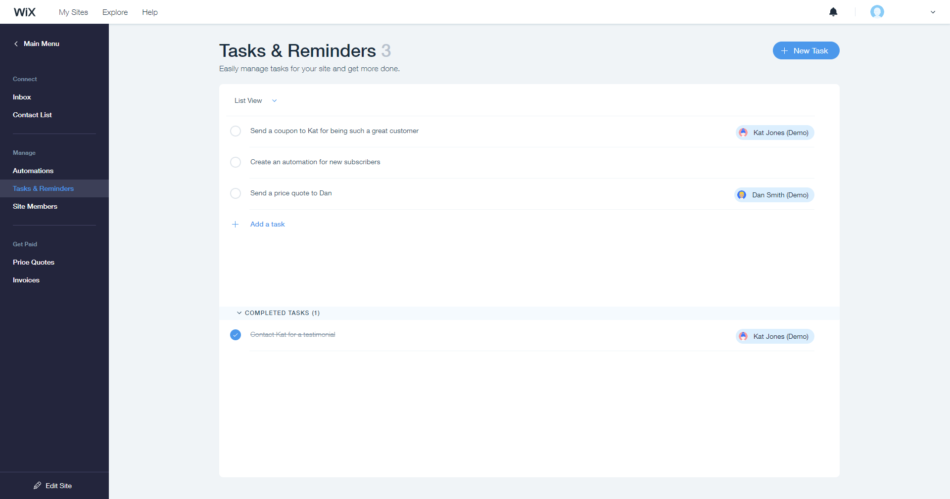 Wix Ascend tasks reminders